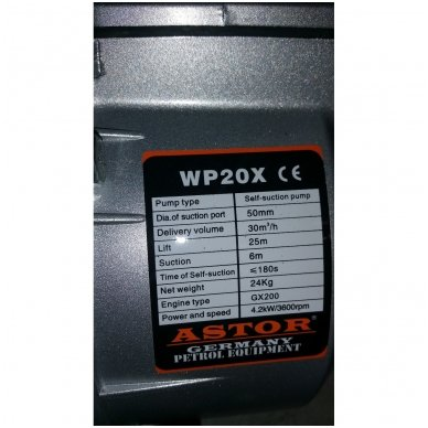 Benzininis vandens siurblys - vandens pompa Astor Wp-20x 4