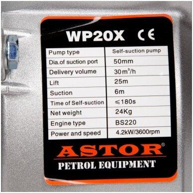 Benzininis vandens siurblys - vandens pompa Astor Wp-20x 6