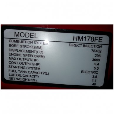 Dyzelinis variklis SUPTEC HM-178FE su starteriu 6aG 9